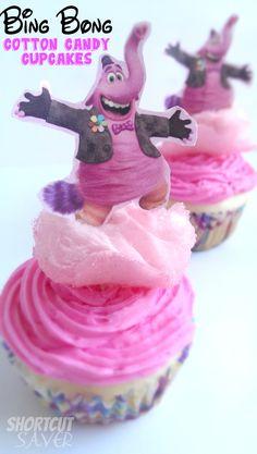 Bing Bong Cotton Candy Cupcakes + FREE Printable Cupcake Toppers