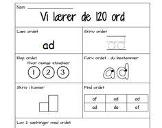 Læs og skriv de 120 hyppigste ord | EMU Danmarks læringsportal