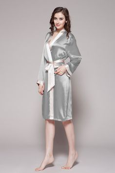 Feel pretty in luxurious custom silk robes. Classic style with smooth and cool mulberry silk. $96 #robes #silk #lilysilk