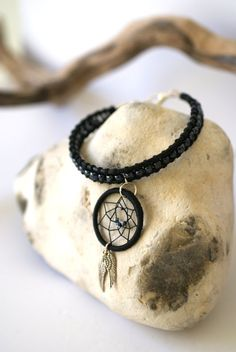 Beaded leather Black Dream Catcher bracelet with by Hippyfairy,Etsy