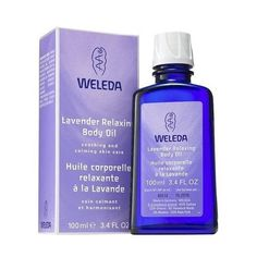 Weleda Lavender Relaxing Body Oil . Tame tension, balance moisture and soothe the mind and body with this relaxing body oil. Ideal for a softening massage, the protective formula melts away stress and helps encourage restorative sleep while richly nourishing skin. Soothing organic lavender oil calms the mind and body. The essential fatty acid-rich base of sweet almond and sesame seed oils absorbs easily to smooth and hydrate skin. Has a crisp lavender scent.