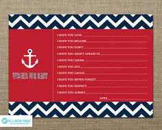 Nautical Baby Shower Wish Card  Nautical Baby by EllisonReed