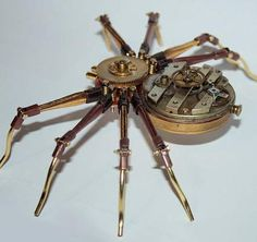 Steampunk Spiders, Grasshoppers and a whole range of gorgeous Brass, Gold and Copper Insects created by the Artist Tom Hardwidge.