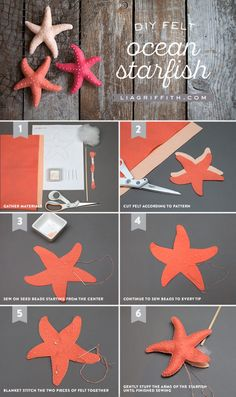 Make felt starfish for great kids craft wonderful beach house decor . - Make felt starfish for wonderful kids crafts included wonderful beach house decor - Beach Crafts, Diy And Crafts, Crafts For Kids, Arts And Crafts, Summer Crafts, Kids Diy, Room Crafts, Seashell Crafts, Decor Crafts