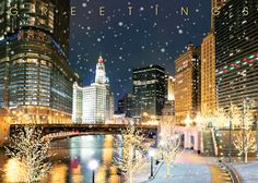 Chicago Christmas cards and Chicago holiday greeting cards featuring Chicago landmarks and skyline and benefit charity of your choice. Business Christmas Cards, Holiday Greeting Cards, Chicago Christmas, Christmas Holidays, Chicago River, Personalised Christmas Cards, City Scene, Winter Scenes, Great Places