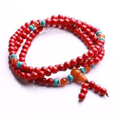 Qiyun 6mm 108 Red priere Mala perle de chapelet de meditation bouddhiste Collier…