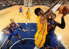 Roy Hibbert defends the basket against New York Knicks player Carmelo Anthony on April 3, 2012