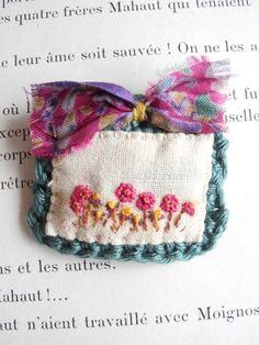 Embroidered flowers brooch fiber jewelry crochet by giovabrusa