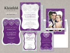 Lace Applique - Purple Wedding Invitations | Kleinfeld Paper