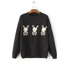 Women's Cute Rabbit Print Long Sleeve Round Neck Casual Sweater (61 NZD) ❤ liked on Polyvore featuring tops, sweaters, long length tops, long tops, bunny top, round top and round neck sweater