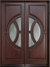 Front Entry Custom Door - Double - Mahogany Solid Wood  - Modern Collection