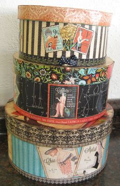 Blank hat boxes by Darice and Graphic 45's Couture collection. Apply using Modge Podge or Ranger Arts Glue and Seal. Finish edges with Acrylic Paints (we used Tim Holtz). #G45 #Graphic45 #Couture #MixedMedia
