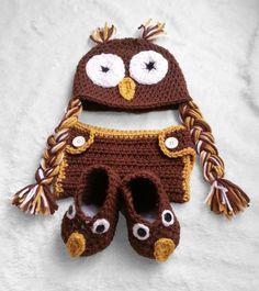 Baby owl set, photo prop, newborn pictures, baby boy, baby girl, owl hat, owl booties, diaper cover