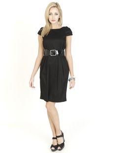 Black Dresses - Patent Belted Jersey Black Dress - http://www.blackdresses.co.uk