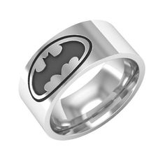 Batman ring Batman band ring silver wedding band by BandRings Batman Jewelry, Star Jewelry, Crystal Jewelry, Jewelry Rings, Jewellery, Batman Ring, Silver Wedding Bands, Biker Rings, Titanium Rings
