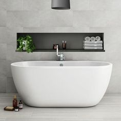 Modern freestanding baths add elegance & charm to your contemporary bathroom. Shop our stunning range of single, double ended & slipper baths now! Upstairs Bathrooms, Laundry In Bathroom, Small Bathroom, Master Bathroom, Bathroom Tubs, Modern Bathroom Design, Bath Design, Bathroom Interior Design, Modern Baths