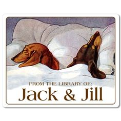 bookplate labels featuring vintage image of two sleeping dachshunds, personalized  My red smooth is named Jack !