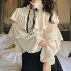 Girly Outfits, Casual Outfits, Cute Outfits, Lolita Fashion, Girl Fashion, Fashion Outfits, Lolita Mode, Collor, Collar Blouse