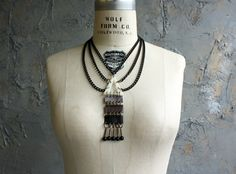 "Leather and Acrylic ""Totem"" Necklace"