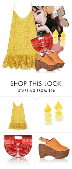 """""""sunny may"""" by spiceandsugar ❤ liked on Polyvore featuring Alexis, Misa, Cult Gaia, Simon Miller, Bottega Veneta, yellow, dress, lace, sandals and yellowdress"""