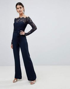 763ff15049 Lioness Off Shoulder Lace Top Wide Leg Jumpsuit