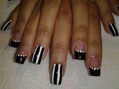 Black and White Stripes with Polka Dot French.  Nail Art How To, Nail Art Tutorial, Polka Dot Nail Art, Nail Art Spot Swirl Tool, Nail Designs, Nail Art Ideas   NailIt! Magazine