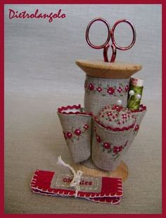 An old spool becomes a great sewing caddy!