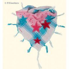 für die kleinen *stars*. traumhaft schönes, doppellagiges dreieckstuch mit fransen im materialmix mit applizierten sternen. maße ca. 45 x 47 x 79 cm. 100 % baumwolle.