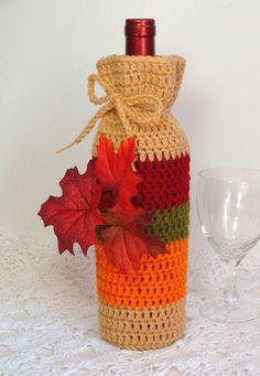 Wine Cozy Bottle Gift Bag Autumn Leaves Fall Foliage by Lilena Crochet Fall, Halloween Crochet, Holiday Crochet, Crochet Home, Crochet Gifts, Fall Crafts, Christmas Crafts, Wine Bottle Covers, Wine Bottle Crafts