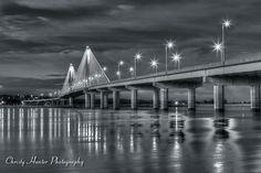 Bridge at night in Alton, IL.