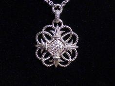 Elegant Judith Ripka TWO Fleur de Lis Sterling White Sapphire Necklace (C9500) #JudithRipka