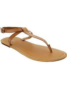 Womens Faux-Leather T-Strap Sandals