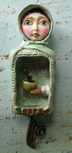 """Altered matchbox wall art """"Hope -a single leaf grows from a broken branch"""" by Linda Carmichael NZ"""