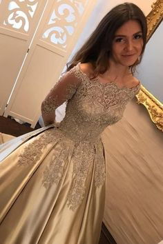 2019 Off The Shoulder Long Sleeves Satin Ball Gown Prom Dresses With Applique Sweep Train Indian Prom Dresses, Prom Dresses With Sleeves, A Line Prom Dresses, Junior Bridesmaid Dresses, Prom Dresses Online, Quinceanera Dresses, Dress Prom, Ball Gowns Prom, Ball Gown Dresses