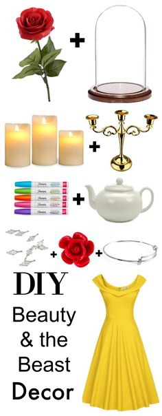 DIY Beauty & the Beast home decor, fashion, party props, jewelry and more! She links to everything you'll need for each item inspired by Disney's new Beauty and the Beast movie. I LOVE the wall frames with roses and the stunning mirror she found at the dollar store!