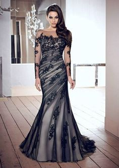 New Mermaid Long black Peacock Wedding Bridal Gowns Evening Pageant Prom Dress #Handmade