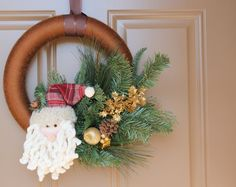Ho Ho Ho - Christmas Yarn Wreath. $30.00, via Etsy.