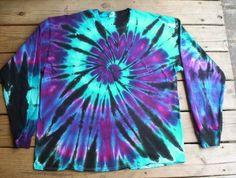 AquaNight Tie Dye Long Sleeve Choose size S - tye dye shirts Tye Dye, Bleach Tie Dye, How To Tie Dye, Tie And Dye, Moda Tie Dye, Diy Tie Dye Designs, Diy Tie Dye Shirts, Tie Dye Crafts, Tie Dye Techniques