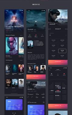 Kino iOS UI KIt is high quality pack to kickstart your movie projects and speed up your design workflow. Android App Design, Ios App Design, Android Ui, Mobile Ui Design, Interface Design, Web Design, Modern Design, Wireframe, Cinema App