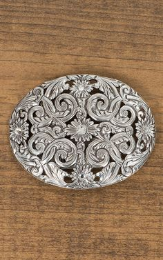 Nocona Antiqued Silver Floral Filigree with Rhinestones Oval Buckle | Cavender's