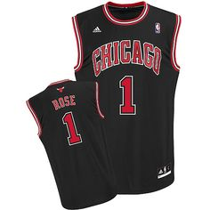 Adidas NBA Chicago Bulls 1 Derrick Rose New Revolution 30 Home Black Jersey b8e316a18