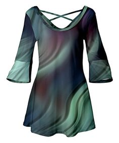 Look what I found on #zulily! Teal & Purple Ripple Crisscross-Back Tunic #zulilyfinds