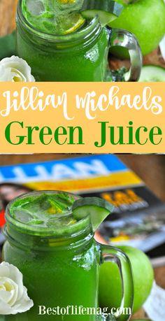 Jillian Michael's Green Juice Recipe – Detox tea for weight loss Healthy Juice Recipes, Best Smoothie Recipes, Healthy Juices, Healthy Smoothies, Green Smoothies, Smoothie Detox, Vitamix Recipes, Healthy Detox, Canning Recipes