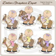 Rocking Horse Baby Girls Clip Art Collection, by Alice Smith - Only $1.00 at www.DollarGraphicsDepot.com : Great for printable crafts, scrapbook pages, web graphics, greeting cards, gift boxes / bags, gift tags / labels, iron-on transfers, candy bar wrappers, quilt blocks, and lots more!