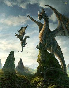 Beautiful queen dragon and her young hatchling!  http://www.pinterest.com/drewb23/dragons/?utm_content=buffer0bea9&utm_medium=social&utm_source=pinterest.com&utm_campaign=buffer