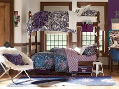 Blue and Purple Dorm >> http://www.hgtv.com/design/decorating/design-101/20-chic-and-functional-dorm-room-decorating-ideas-pictures?soc=pinterest