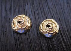 New GREAT 8mm spiral bead cap endings by artisan Pam Springall on my Etsy Findings shop... 8mm Gold Bronze Handmade Small Spiral Bead by VDIJewelryFindings