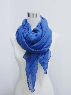 blue woman scarf fashion spring summer wrinkle shawl to block sun large scarf 190*90cm beach scarf free shipping. $7.99