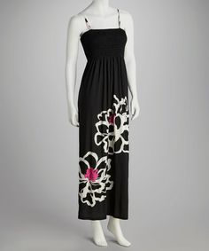 Take a look at this Black Bold Bloom Smocked Maxi Dress by India Boutique on #zulily today! $24.99, regular 70.00