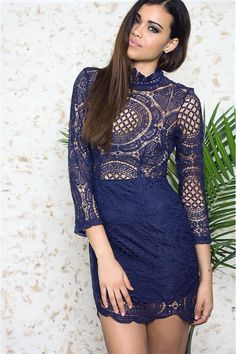 Olivia Blue Crochet Dress